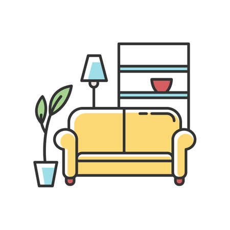Apartment interior RGB color icon. Living room furniture. Cosy home. Couch, sofa. Place for rest and relaxation. Common dormitory space. Isolated vector illustration
