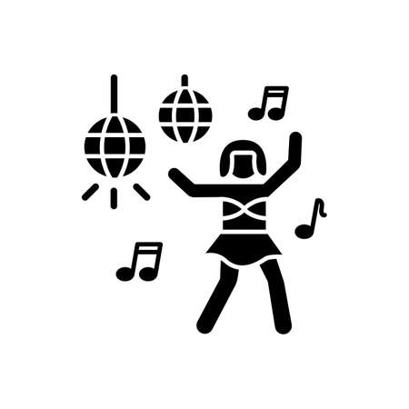 Go go dancer black glyph icon. Trendy night club recreation, rave party silhouette symbol on white space. Energizing dancer, young clubber dancing on nightclub stage vector isolated illustration