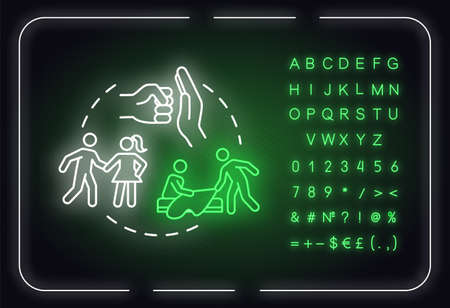 Not be imposed neon light concept icon. Giving friend space. Possession and jealousy idea. Outer glowing sign with alphabet, numbers and symbols. Vector isolated RGB color illustration