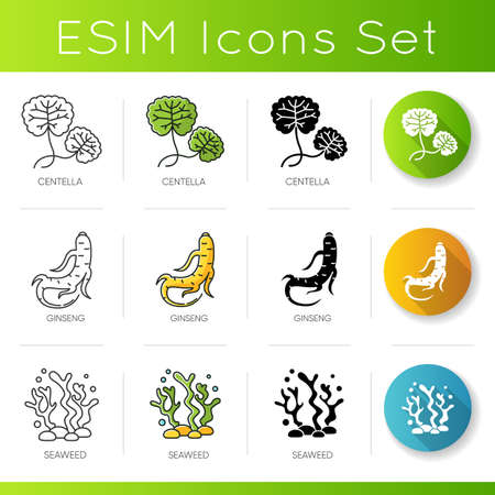 Cosmetic ingredient icons set. Centella leaves. Ginseng root. Seaweed component in skincare products. Dermatology, cosmetology. Linear, black and RGB color styles. Isolated vector illustrations