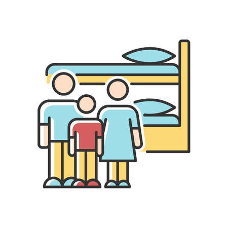 Family dormitory RGB color icon. Shared dorm room. Common bedroom. Accommodation facility. Bunk bed. Hostel. Residential area. Living conditions. Isolated vector illustration