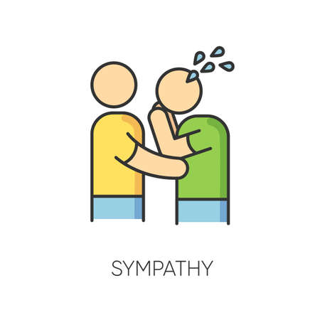 Sympathy RGB color icon. Friendly consolation and support, emotional care, friendship symbol. Strong interpersonal bond. Comforting, cheering sad friend. Isolated vector illustration