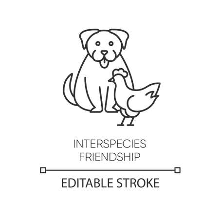 Interspecies friendship pixel perfect linear icon. Thin line customizable illustration. Bond between animals, friendly relationship contour symbol. Vector isolated outline drawing. Editable stroke