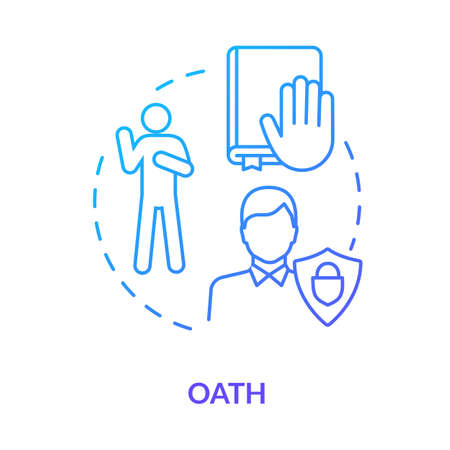 Oath blue concept icon. Affirmation in court. Making pledge on book. Courthouse legislation. Witness testimony. Notary service idea thin line illustration. Vector isolated outline RGB color drawing Vecteurs