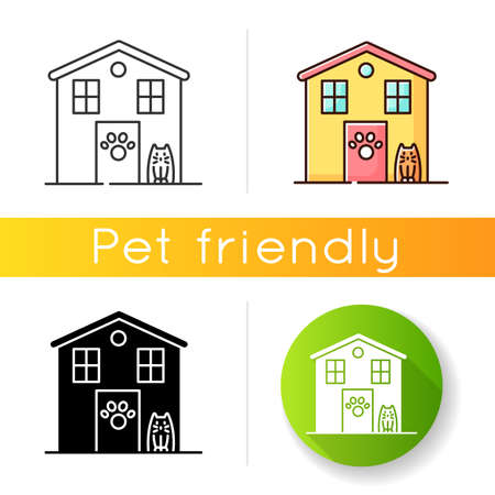Animal shelter exterior sign icon. Stray cats and dogs house, homeless animals care place. Kitty and doggy welcome area. Linear black and RGB color styles. Isolated vector illustrations Illusztráció