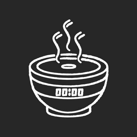 Air filter, modern device chalk white icon on black background. Humidifying appliance, home air purifier, room climate regulating equipment. Isolated vector chalkboard illustration
