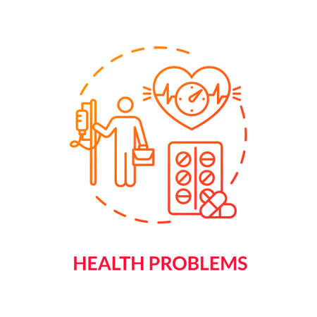 Health problems red concept icon. Medical treatment. Prescripted medication. Heart problems. Burnout repercussion idea thin line illustration. Vector isolated outline RGB color drawing