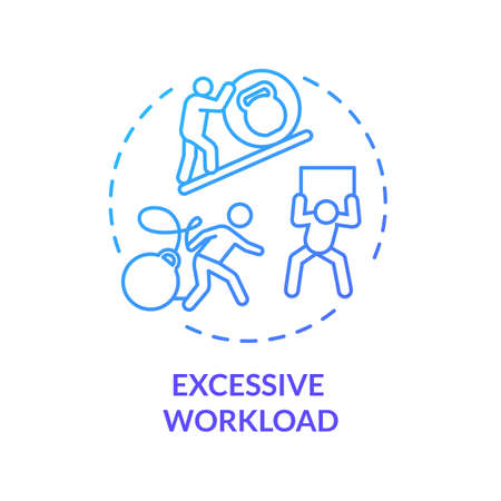 Excessive workload blue concept icon. Multitasking at work. Overwhelmed workaholic. Desperate clerk. Burnout cause idea thin line illustration. Vector isolated outline RGB color drawing