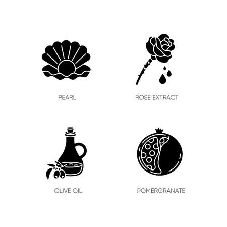 Cosmetic ingredient black glyph icons set on white space. Pearl in oyster shell. Rose extract. Olive oil. Sliced pomegranate. Beauty, skincare. Silhouette symbols. Vector isolated illustration Vektorové ilustrace