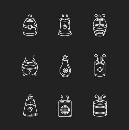 Air purifiers variety chalk white icons set on black background. Ultrasonic and steam air cleaners, climate control devices, indoors humidity regulators. Isolated vector chalkboard illustrations