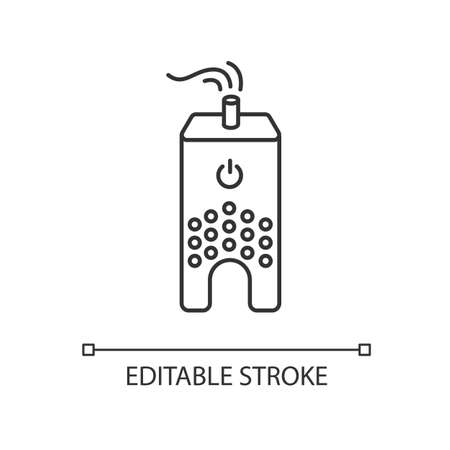 Ultrasonic humidifier pixel perfect linear icon. Home ionizer, silent mode device. Thin line customizable illustration. Contour symbol. Vector isolated outline drawing. Editable stroke