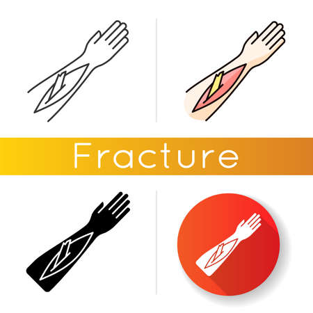 Open bone fracture icon. Bone sticking out of human arm. Badly injured hand. Wounded limb. Accident. Emergency. Healthcare. Linear black and RGB color styles. Isolated vector illustrations