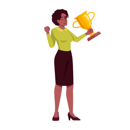 Professional recognition semi flat RGB color vector illustration. Businesswoman with trophy victorious gestures isolated cartoon character on white background. Goal achievement award