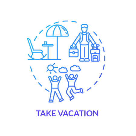Take vacation blue concept icon. Plan adventure. Traveling abroad. Rest from work. Recreation outside. Avoid burnout idea thin line illustration. Vector isolated outline RGB color drawing