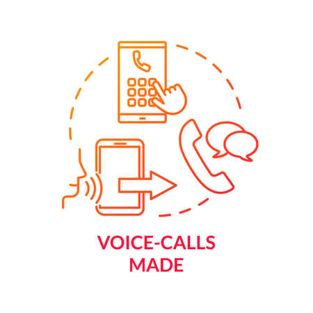 Voice-calls made red concept icon. Phone ring. Chating with smartphone. Mobile phone service. Network connection. Roaming idea thin line illustration. Vector isolated outline RGB color drawing