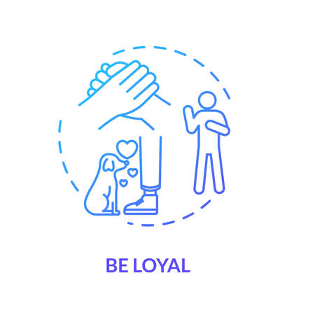 Be loyal concept icon. Friendship relationships and social skills advice. Being faithful and trustworthy friend idea thin line illustration. Vector isolated outline RGB color drawing Illustration