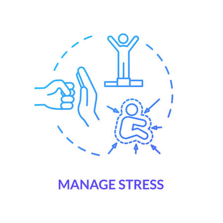 Manage stress blue concept icon. Healthcare for employee. Psychological well being. Resist pressure. Avoid burnout idea thin line illustration. Vector isolated outline RGB color drawing