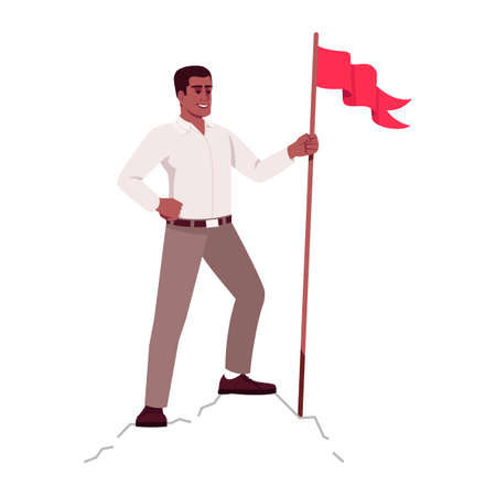 Successful businessman on top of world metaphor semi flat RGB color vector illustration. Industry leader on mountain peak isolated cartoon character on white background. Business achievements concept
