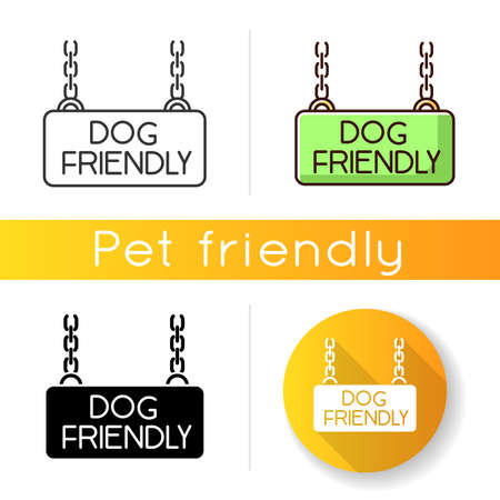 Dog friendly territory icon. Doggy permitted zone, puppies welcome terrain. Domestic animals allowed area chain hanging plate. Linear black and RGB color styles. Isolated vector illustrations