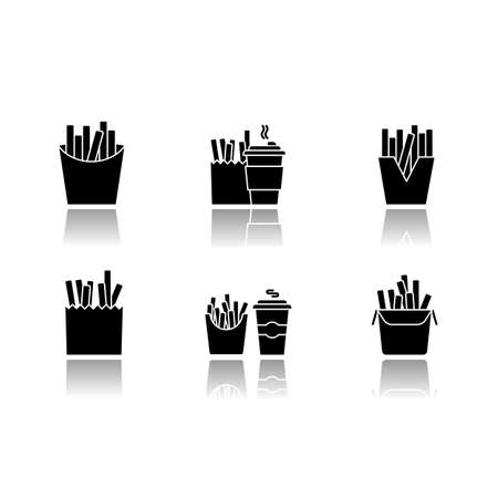 French fries drop shadow black glyph icons set. Fast food cafe menu. Fried potato in takeout paper packages. Take away meal and coffee to go. Isolated vector illustrations on white space