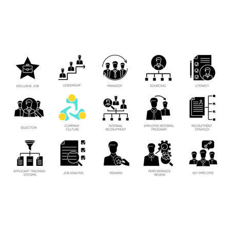 Headhunting black glyph icons set on white space. Human resources management, corporate recruitment, employment silhouette symbols. Executive search, personnel hiring. Vector isolated illustrations
