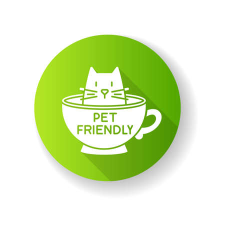 Cat friendly cafe green flat design long shadow glyph icon. Kitten permitted food service establishment. Domestic animals allowed territory, pets welcome zone. Silhouette RGB color illustration