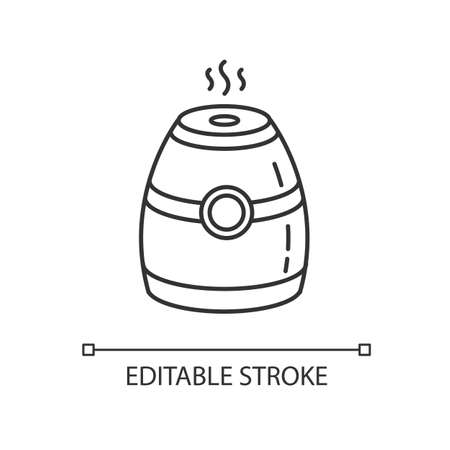 Steam humidifier pixel perfect linear icon. Portable air purifier, oil diffuser. Thin line customizable illustration. Contour symbol. Vector isolated outline drawing. Editable stroke