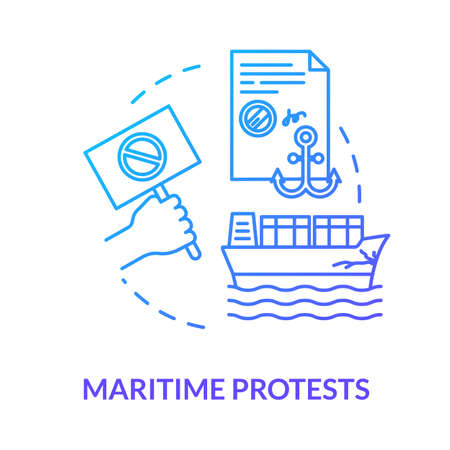 Maritime protest blue concept icon. Freight protection. Cargo damage. Notarized paper. Collision, problem. Notary service idea thin line illustration. Vector isolated outline RGB color drawing