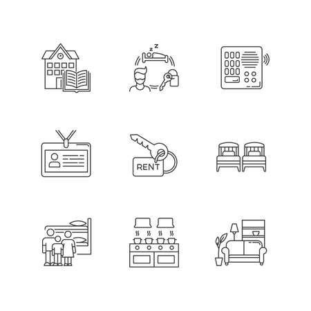 Renting pixel perfect linear icons set. Communal kitchen. Identity card. Living room. Shared space. Customizable thin line contour symbols. Isolated vector outline illustrations. Editable stroke 向量圖像