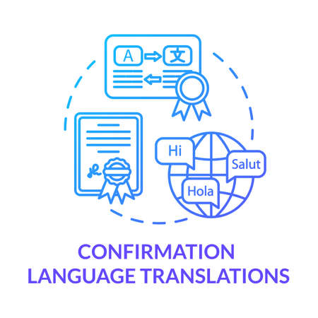 Confirmation language translations blue concept icon. International contract. Interpreter work. Legal document. Notary service idea thin line illustration. Vector isolated outline RGB color drawing
