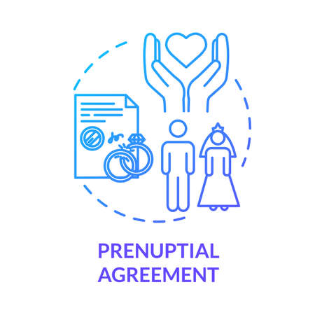 Prenuptial agreement blue concept icon. Aid with alimony. Partner commitment. Contract for married couple. Notary service idea thin line illustration. Vector isolated outline RGB color drawing