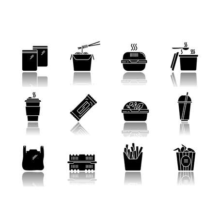 Takeaway food packages drop shadow black glyph icons set. Take out meal containers, boxes for delivery. Noodles, bucket of chicken wings, french fries. Isolated vector illustrations on white space