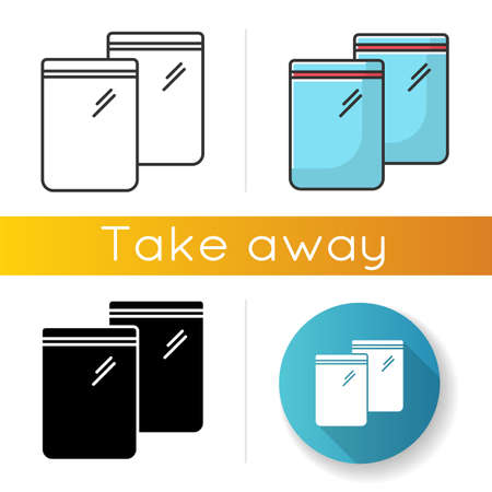 Zip bag icons set. Linear, black and RGB color styles. Empty plastic transparent package. Food ziplock packet, pvc sachet. Snack waterproof pouch. Isolated vector illustrations Vetores
