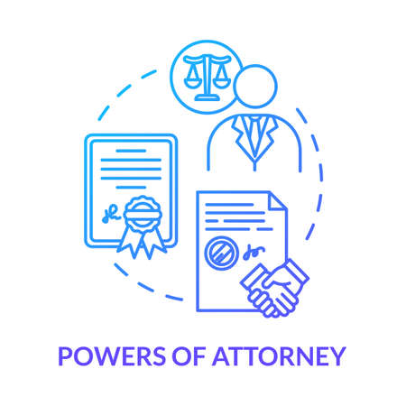 Powers of attorney blue concept icon. Personal affair. Legal representative. Seal business deal with third party. Notary service idea thin line illustration. Vector isolated outline RGB color drawing