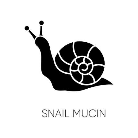 Snail mucin black glyph icon. Skincare natural component. Organic delicate product. Healing effect. Repairing effect for skin. Silhouette symbol on white space. Vector isolated illustration Иллюстрация