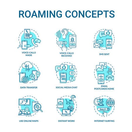 Roaming turquoise concept icons set. Browsing social media. Network connection. Internet connection idea thin line RGB color illustrations. Vector isolated outline drawings. Editable stroke