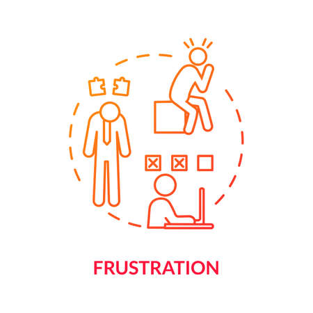 Frustration red concept icon. Bored employee. Breakdown at work. Nervous worker with migraine. Unhappy employee. Burnout symptom idea thin line illustration. Vector isolated outline RGB color drawing