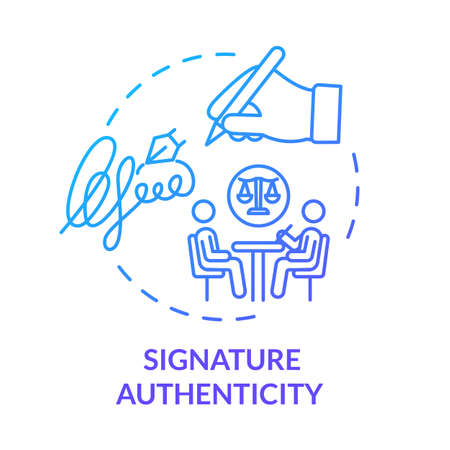 Signature authenticity blue concept icon. Protected document. Signing contract. Common law professional help. Notary service idea thin line illustration. Vector isolated outline RGB color drawing
