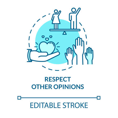 Respect other opinions concept icon. Understand and accept friends. Social relationship. Being respectful idea thin line illustration. Vector isolated outline RGB color drawing. Editable stroke
