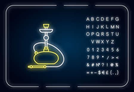 Hookah neon light icon. Sheesha house. Nicotine and cannabis. Nargile lounge. Odor from pipe. Outer glowing effect. Sign with alphabet, numbers and symbols. Vector isolated RGB color illustration