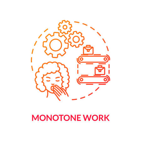 Monotone work red concept icon. Lazy clerk. Woman yawning. Overworked lady. Boring labor. Sleepy secretary. Burnout cause idea thin line illustration. Vector isolated outline RGB color drawing