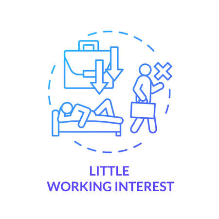 Little working interest blue concept icon. Emotional exhaustion. Lazy man. Tired and unhappy employee. Take nap. Burnout symptom idea thin line illustration. Vector isolated outline RGB color drawing