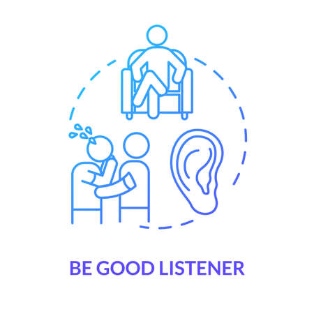 Be good listener concept icon. Friendship relationship advice. People psychological help. Best friend support idea thin line illustration. Vector isolated outline RGB color drawing