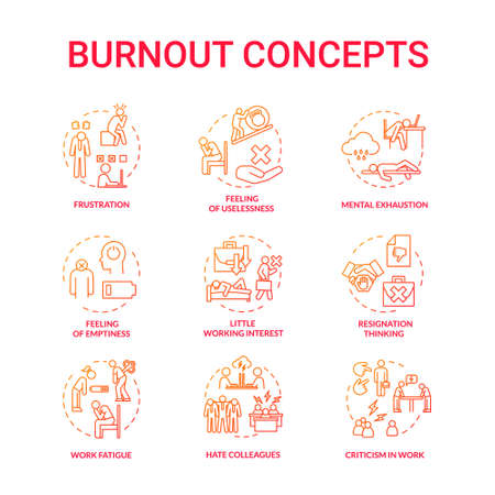 Burnout red concept icons set. Work fatigue. Conflict with colleagues. Mental exhaustion. Little working interest. Frustration idea thin line RGB color illustrations. Vector isolated outline drawings