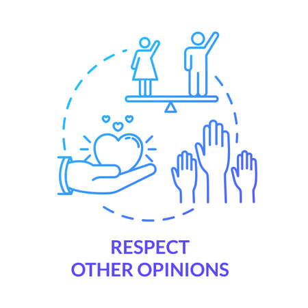Respect other opinions concept icon. Understand and accept friends. Social relationship skill. Being respectful idea thin line illustration. Vector isolated outline RGB color drawing