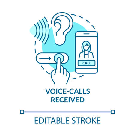 Voice-calls received turquoise concept icon. Connect with mobile phone. Chat with cellphone. Roaming idea thin line illustration. Vector isolated outline RGB color drawing. Editable stroke