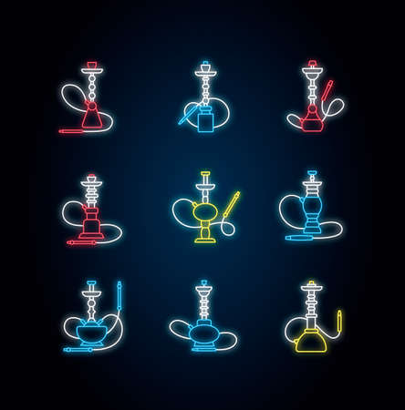 Hookah neon light icons set. Custom object. Sheesha house. Nargile lounge. Odor from pipe. Scent of vaporizing. Smoking area. Signs with outer glowing effect. Vector isolated RGB color illustrations