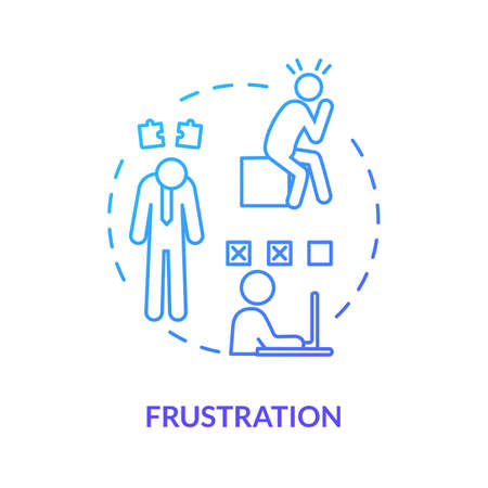 Frustration blue concept icon. Stressed manager. Nervous worker with migraine. Unhappy employee. Burnout symptom idea thin line illustration. Vector isolated outline RGB color drawing Ilustração