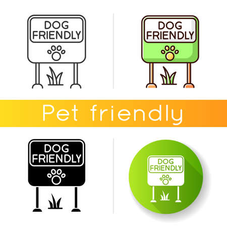 Dog friendly place icon. Doggy allowed park and square mark. Domestic puppies permitted territory, lawn and garden sign. Linear black and RGB color styles. Isolated vector illustrations