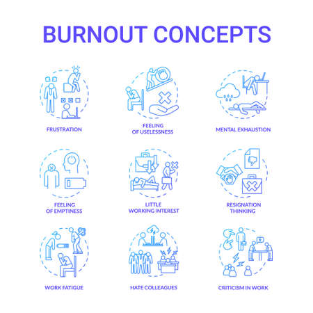 Burnout blue concept icons set. Feeling of emptiness. Work fatigue. Mental exhaustion. Little working interest. Frustration idea thin line RGB color illustrations. Vector isolated outline drawings